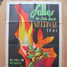 Carteles Feria: CARTEL FIESTAS, FALLAS VALENCIA, 1961, FIESTAS POPULARES Y ARTISTICAS, PACO, CF10. Lote 82490980