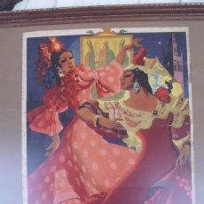 Carteles Feria: SEVILLA SEMANA SANTA FERIA FIESTAS PRIMAVERA 50 X 35 CMS BRAULIO RUIZ SANCHEZ 1945. Lote 84557776