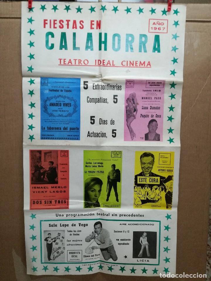 FIESTAS DE CALAHORRA 50X87 CM.AÑO 1967,TEATRO IDEAL.COMEDIAS Y TEATRO (Coleccionismo - Carteles Gran Formato - Carteles Ferias, Fiestas y Festejos)