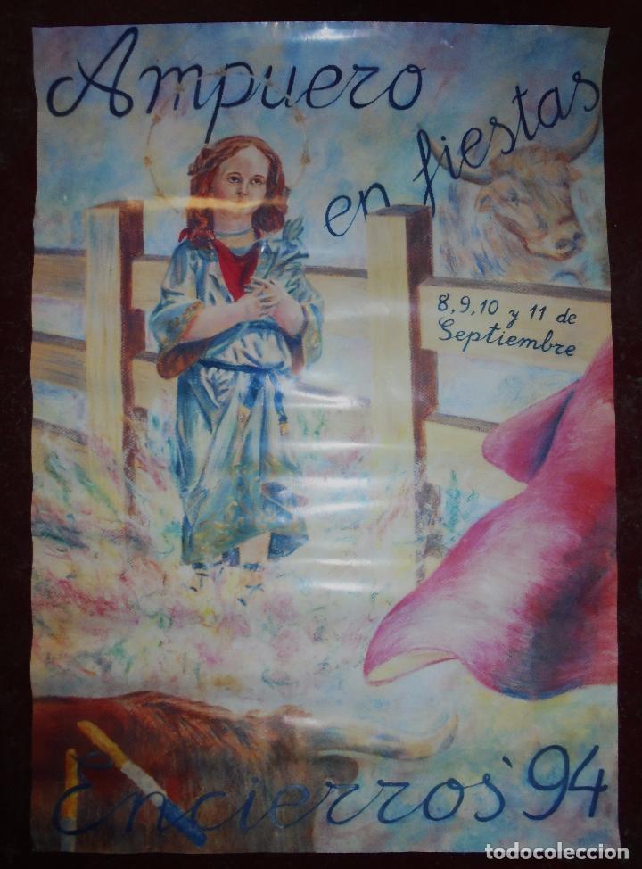 CARTEL. AMPUERO EN FIESTAS. ENCIERROS´94. 67,2 X 47 CM (Coleccionismo - Carteles Gran Formato - Carteles Ferias, Fiestas y Festejos)