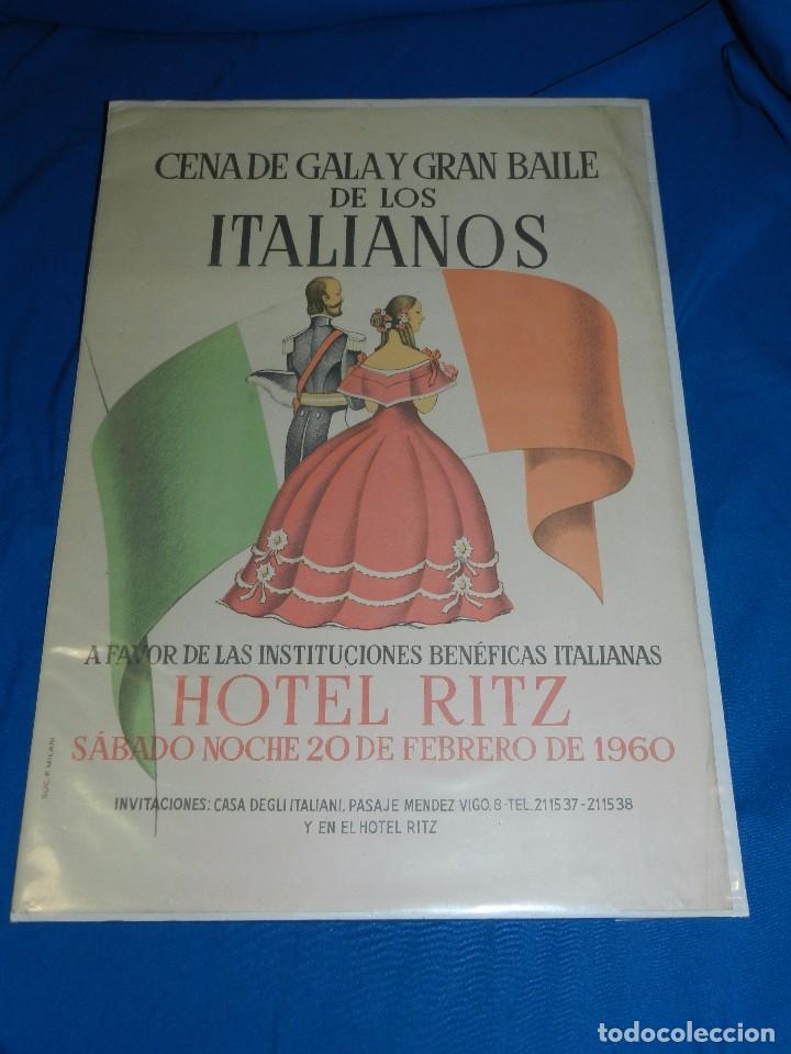 (M) CARTEL CENA DE GALA Y GRAN BAILE DE LOS ITALIANOS , HOTEL RITZ 1960 , BARCELONA (Coleccionismo - Carteles Gran Formato - Carteles Ferias, Fiestas y Festejos)