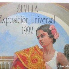 Carteles Feria: JOHN FULTON, ESPLÉNDIDO CARTEL OBRA DEL TORERO NORTEAMERICANO Y PINTOR JOHN FULTON, EXPO 92 SEVILLA. Lote 92966895