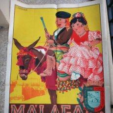 Carteles Feria: CARTEL FERIAS Y FIESTAS DE MALAGA 1946 , MUY GRANDE , L. RAMOS ROSA , LITOGRAFIA , ORIGINAL. Lote 94059225