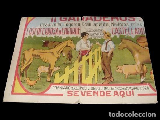 ANTIGUO CARTÓN PUBLICITARIO DE 1.932 DE FERIA DE GANADEROS EN BURGOS. UNICO. (Coleccionismo - Carteles Gran Formato - Carteles Ferias, Fiestas y Festejos)
