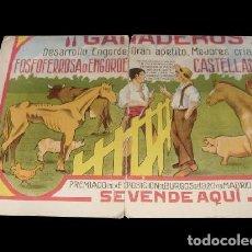 Carteles Feria: ANTIGUO CARTÓN PUBLICITARIO DE 1.932 DE FERIA DE GANADEROS EN BURGOS. UNICO.. Lote 26299535