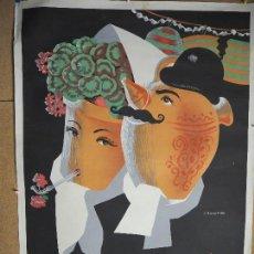 Carteles Feria: CARTEL FIESTAS DE SAN ISIDRO MADRID 1953 ILUSTRADO POR J. BARAHONA. 100 X 70 CM BOTIJO.. Lote 94814171