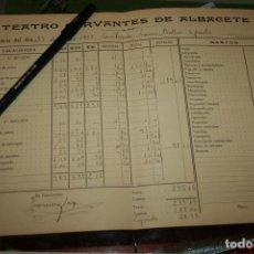 Carteles Feria: TEATRO CERVANTES DE ALBACETE AÑO 1927, DATOS DE INGRESOS Y GASTOS. . Lote 97878099