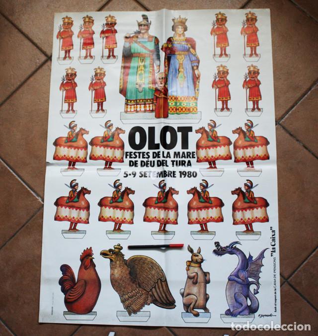 CARTEL OLOT FESTES DE LA MARE DE DEU DEL TURA 1980, GRAN TAMAÑO 98 X 69 CM GIGANTES Y CABEZUDOS,RARO (Coleccionismo - Carteles Gran Formato - Carteles Ferias, Fiestas y Festejos)