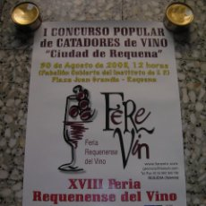 Carteles Feria: CARTEL I CONCURSO POPULAR DE CATADORES DEL VINO CIUDAD DE REQUENA. FEREVIN XVIII FERIA DEL VINO.. Lote 98091255