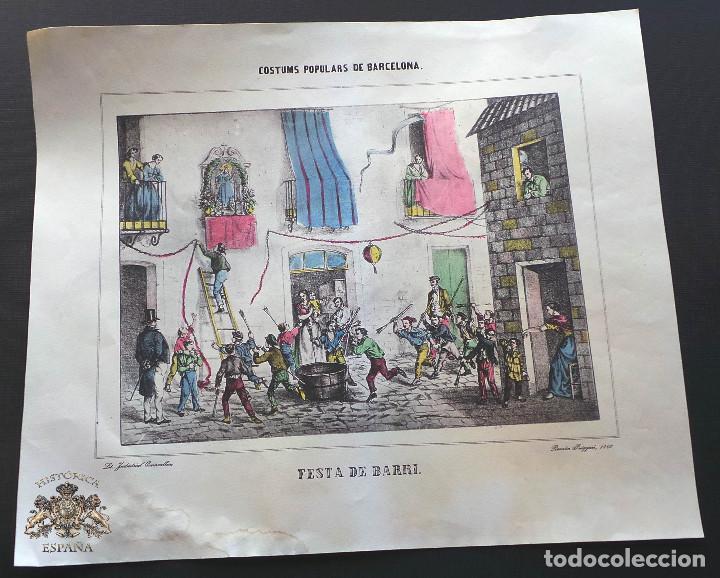 CARTEL FESTA DE BARRI - COSTUMS POPULARS DE BARCELONA. RAMÓN PUIGGARÍ, 1860 - 37 X 31,5 CM (Coleccionismo - Carteles Gran Formato - Carteles Ferias, Fiestas y Festejos)