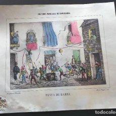 Carteles Feria: CARTEL FESTA DE BARRI - COSTUMS POPULARS DE BARCELONA. RAMÓN PUIGGARÍ, 1860 - 37 X 31,5 CM. Lote 99727819