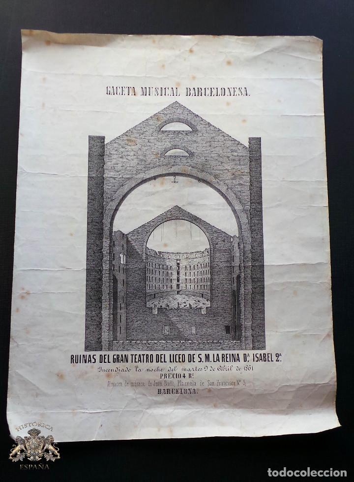CARTEL GACETA MUSICAL BARCELONESA. RUINAS DEL LICEO S.M.LA REINA ISABEL II. 1861- 42,5 X 32,5 CM (Coleccionismo - Carteles Gran Formato - Carteles Ferias, Fiestas y Festejos)