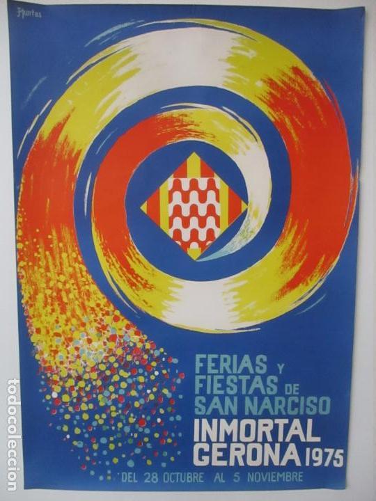 GRAN CARTEL - FERIAS Y FIESTAS DE SAN NARCISO - INMORTAL GERONA (GIRONA) - 70X100 - AÑO 1975 (Coleccionismo - Carteles Gran Formato - Carteles Ferias, Fiestas y Festejos)