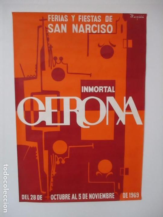 GRAN CARTEL - FERIAS Y FIESTAS DE SAN NARCISO - INMORTAL GERONA (GIRONA) - 68X100 - AÑO 1969 (Coleccionismo - Carteles Gran Formato - Carteles Ferias, Fiestas y Festejos)