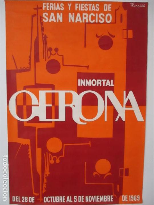 Carteles Feria: Gran Cartel - Ferias y Fiestas de San Narciso - Inmortal Gerona (Girona) - 68x100 - Año 1969 - Foto 2 - 100614987