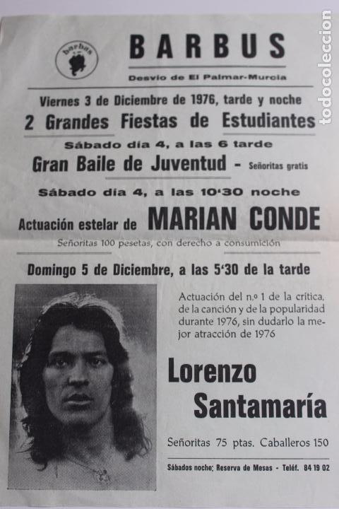CARTEL DISCO BARBUS, MARIAN CONDE, Y LORENZO SANTAMARIA, MURCIA AÑO 1976 (Coleccionismo - Carteles Gran Formato - Carteles Ferias, Fiestas y Festejos)