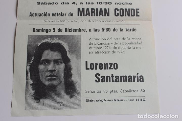 Carteles Feria: CARTEL DISCO BARBUS, MARIAN CONDE, Y LORENZO SANTAMARIA, MURCIA AÑO 1976 - Foto 2 - 101050583