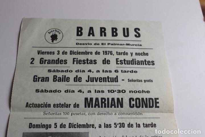 Carteles Feria: CARTEL DISCO BARBUS, MARIAN CONDE, Y LORENZO SANTAMARIA, MURCIA AÑO 1976 - Foto 3 - 101050583