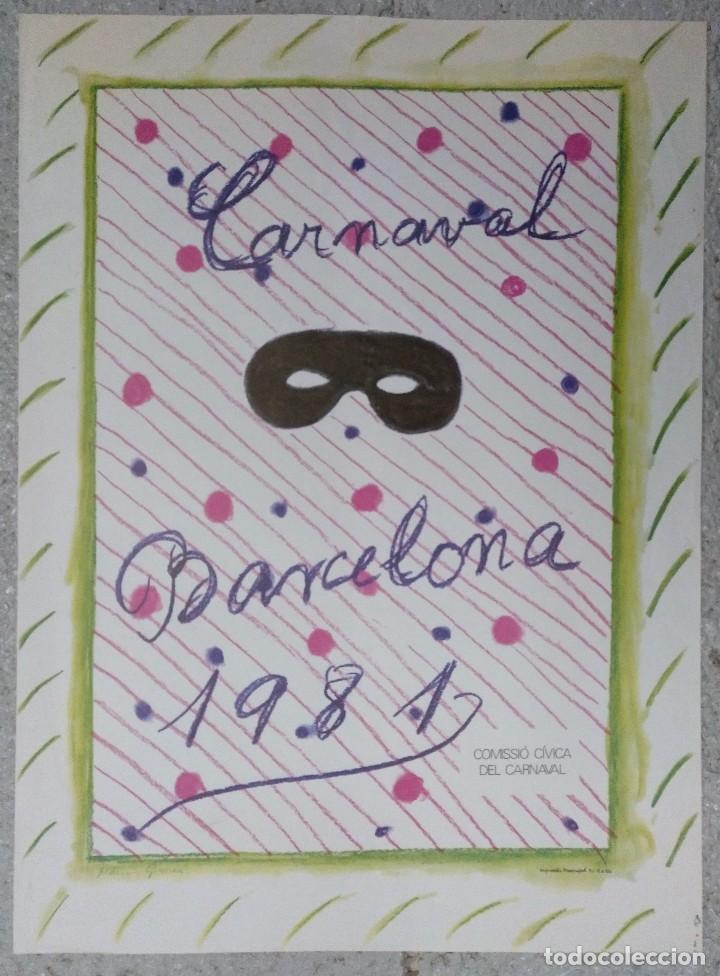 CARTEL CARNAVAL BARCELONA 1981. DISEÑO MARIA GIRONA 66 X 49 CM (APROX) (Coleccionismo - Carteles Gran Formato - Carteles Ferias, Fiestas y Festejos)