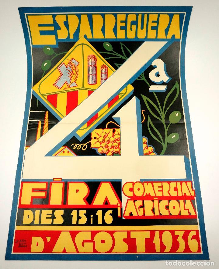 ESPARRAGUERA, FIRA COMERCIAL I AGRÍCOLA, AGOST 1936. 48X69 CM. ILUSTRADOR: LLORENÇ BRUNET (Coleccionismo - Carteles Gran Formato - Carteles Ferias, Fiestas y Festejos)