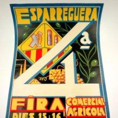 Carteles Feria: ESPARRAGUERA, FIRA COMERCIAL I AGRÍCOLA, AGOST 1936. 48X69 CM. ILUSTRADOR: LLORENÇ BRUNET. Lote 101615423