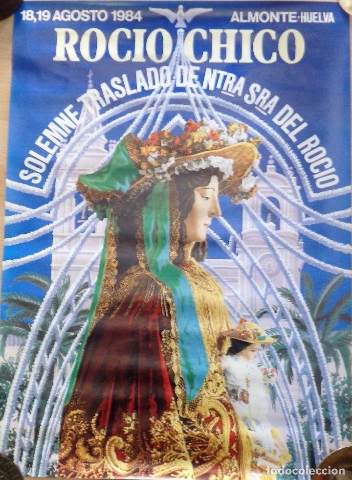 ALMONTE,HUELVA,1984, ESPECTACULAR CARTEL DEL ROCIO CHICO, 48X68 CMS (Coleccionismo - Carteles Gran Formato - Carteles Ferias, Fiestas y Festejos)