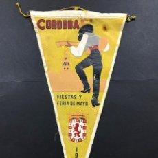 Affiches Foire: BANDERÍN CARTEL FIESTAS Y FERIA DE MAYO,1959 CÓRDOBA, EN TELA SEDA. Lote 102640975
