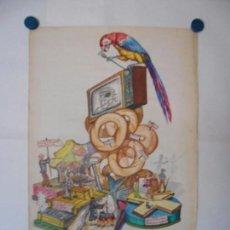 Carteles Feria: MAQUETA ORIGINAL ACUARELA COLOR FALLA - PRINCIPIOS AÑOS 50 - ARTISTA JOSE CODOÑER. Lote 103915003