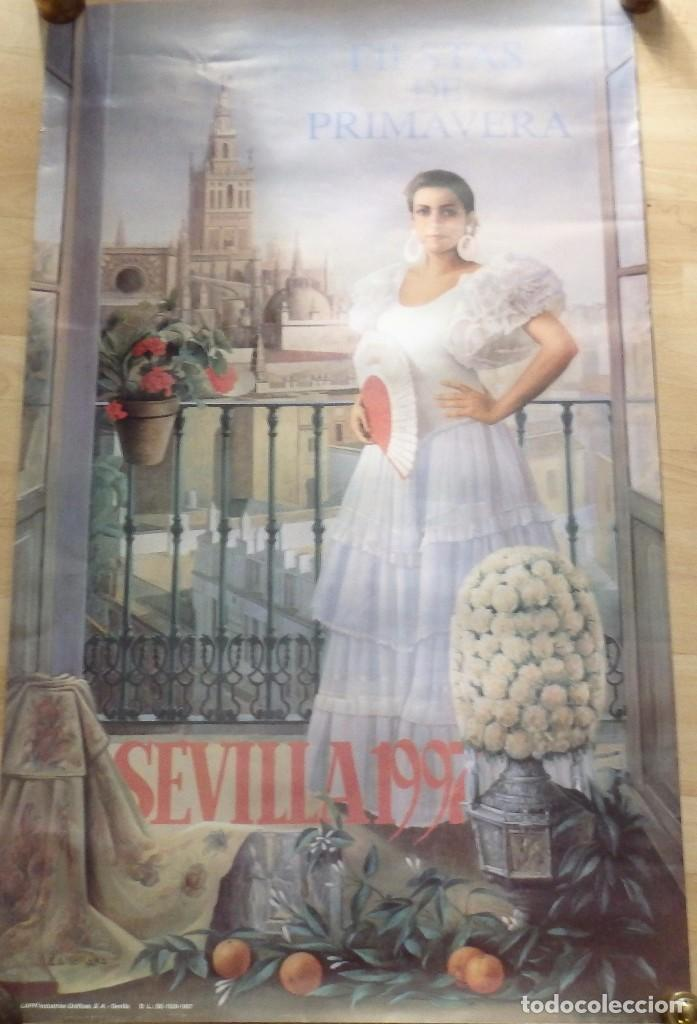 SEVILLA, 1997, CARTEL DE FIESTAS DE PRIMAVERA, PINTADO POR ANTONIO ZAMBRANA,62X102 CMS (Coleccionismo - Carteles Gran Formato - Carteles Ferias, Fiestas y Festejos)