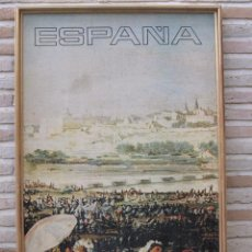 Carteles Feria: ESPAÑA-GOYA -REPRODUC.CARTEL GRANDE PRADERA DE SAN ISIDRO. MADRID .1,05 MTS.ALTO Y 0,652 MTS. ANCHO.. Lote 104978583
