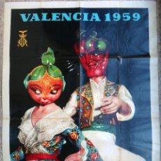 Carteles Feria: CARTEL FALLAS DE VALENCIA 1959 ILUSTRADOR PERIS ORIGINAL , B6. Lote 105195175