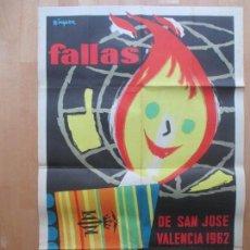 Carteles Feria: CARTEL FIESTAS, FALLAS VALENCIA, 1962, FIESTAS DE INTERES TURISTICO, MINGUEZ, CF26. Lote 105928575