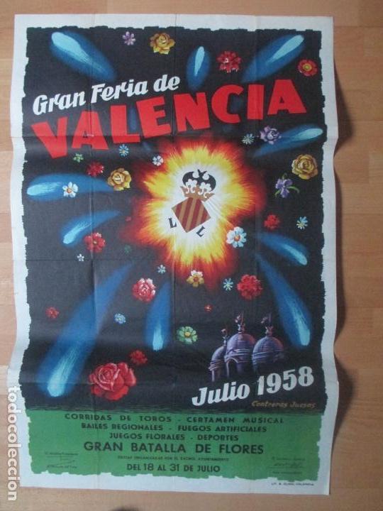 CARTEL FIESTAS, FERIA VALENCIA, 1958, GRAN BATALLA DE FLORES, CONTRERAS JUESAS, CF34 (Coleccionismo - Carteles Gran Formato - Carteles Ferias, Fiestas y Festejos)