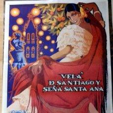 Carteles Feria: SEVILLA, 1988, CARTEL ORIGINAL DE LA VELA DE SANTIAGO Y SANTA ANA, TRIANA, 48X68 CMS. Lote 150950857
