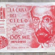 Carteles Feria: POSTER CARTEL DE DISCOTECA HEAVEN 1992 VALENCIA RUTA DEL BAKALAO DESTROY BILLETE. Lote 109456375