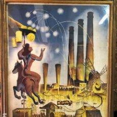 Carteles Feria: CARTEL POSTER FIESTA MAYOR PARALELO ATRACCIONES 1943. Lote 109365675