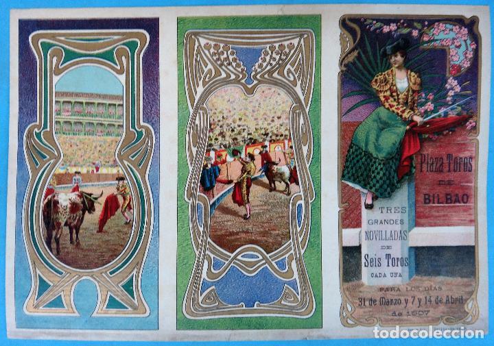 CARTEL PROGRAMA FERIAS FIESTAS Y TOROS, BILBAO , 1907 , LITOGRAFIA ANTIGUA, ORIGINAL , H3 (Coleccionismo - Carteles Gran Formato - Carteles Ferias, Fiestas y Festejos)