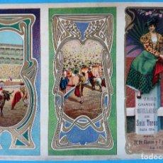 Carteles Feria: CARTEL PROGRAMA FERIAS FIESTAS Y TOROS, BILBAO , 1907 , LITOGRAFIA ANTIGUA, ORIGINAL , H3. Lote 110131087