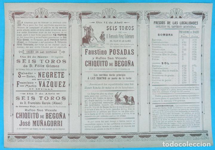Carteles Feria: CARTEL PROGRAMA FERIAS FIESTAS Y TOROS, BILBAO , 1907 , LITOGRAFIA ANTIGUA, ORIGINAL , H3 - Foto 2 - 110131087