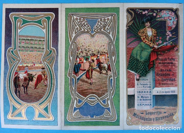 CARTEL PROGRAMA FERIAS FIESTAS Y TOROS , CARTAGENA MURCIA , 1906 , LITOGRAFIA ANTIGUA, ORIGINAL , H3 (Coleccionismo - Carteles Gran Formato - Carteles Ferias, Fiestas y Festejos)