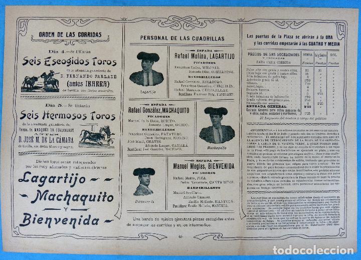 Carteles Feria: CARTEL PROGRAMA FERIAS FIESTAS Y TOROS , CARTAGENA MURCIA , 1906 , LITOGRAFIA ANTIGUA, ORIGINAL , H3 - Foto 2 - 110131407