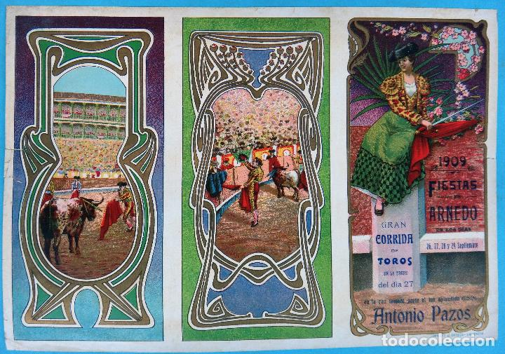 CARTEL PROGRAMA FERIAS FIESTAS Y TOROS, ARNERO LA RIOJA , LITOGRAFIA ANTIGUA, ORIGINAL , H3 (Coleccionismo - Carteles Gran Formato - Carteles Ferias, Fiestas y Festejos)