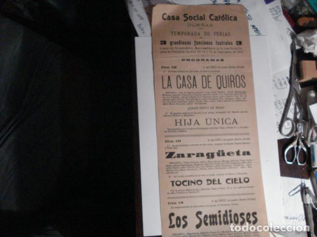 RARO CARTEL FERIAS TEATRO - CASA SOCIAL CATOLICA DE DUEÑAS - PALENCIA AÑO 1919 - (Coleccionismo - Carteles Gran Formato - Carteles Ferias, Fiestas y Festejos)