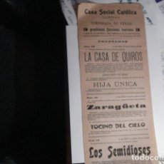 Carteles Feria: RARO CARTEL FERIAS TEATRO - CASA SOCIAL CATOLICA DE DUEÑAS - PALENCIA AÑO 1919 - . Lote 110263863