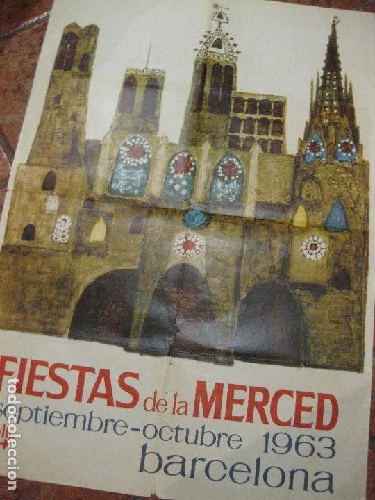 BONITO CARTEL FIESTAS DE LA MERCED . BARCELONA 1963 . FESTES DE LA MERCÈ - 68/ 90 CM (Coleccionismo - Carteles Gran Formato - Carteles Ferias, Fiestas y Festejos)