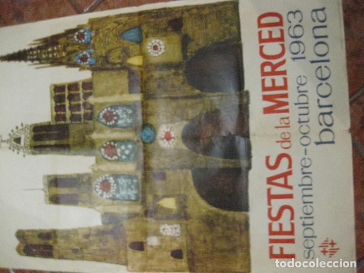 Carteles Feria: bonito cartel fiestas de la merced . barcelona 1963 . festes de la mercè - 68/ 90 cm - Foto 2 - 111458759