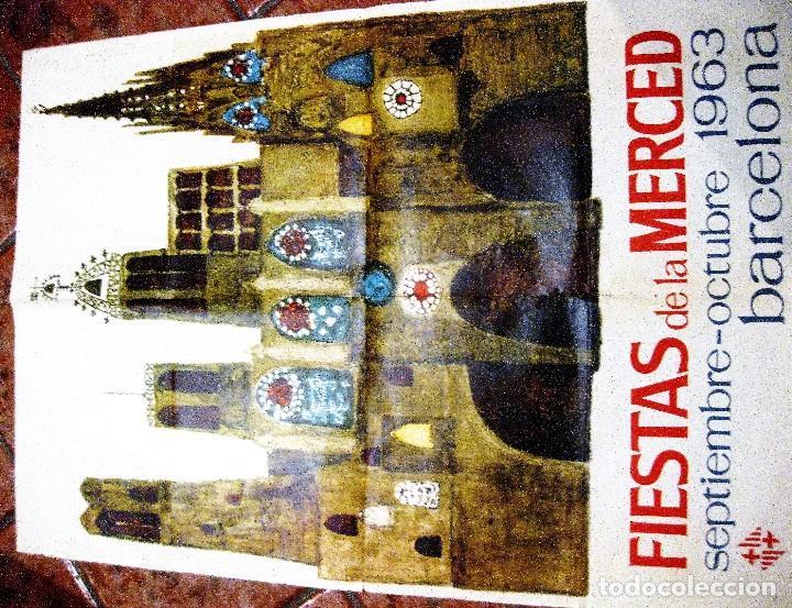 Carteles Feria: bonito cartel fiestas de la merced . barcelona 1963 . festes de la mercè - 68/ 90 cm - Foto 3 - 111458759