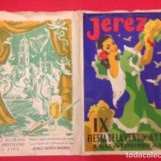 Carteles Feria: PROGRAMA, JEREZ IX FIESTA DE LA VENDIMIA Y FERIA 1956. VENDIMIA. Lote 113462575