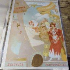 Carteles Feria: PRUEBA DE COLOR DEL CARTEL DE FIESTAS PRIMAVERALES DE SEVILLA DE 1913, 100% ORIGINAL, 27X41 CMS. Lote 114155519