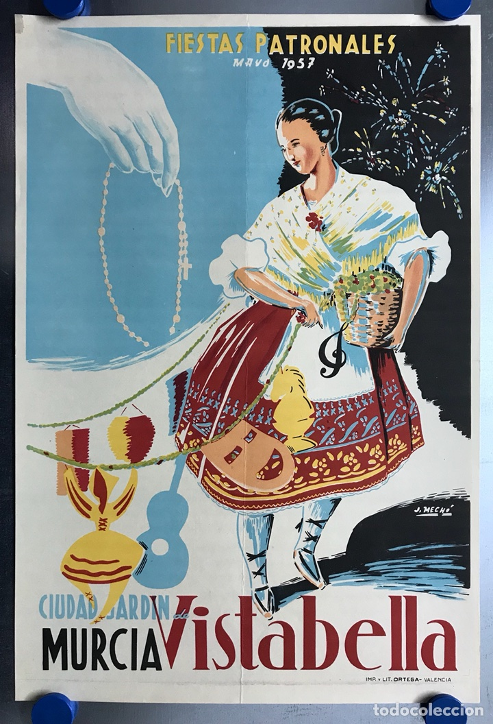 CIUDAD JARDIN DE VISTABELLA (MURCIA) - FIESTAS PATRONALES - MAYO 1957 - LITOGRAFIA - ILUST: J. MECHO (Coleccionismo - Carteles Gran Formato - Carteles Ferias, Fiestas y Festejos)